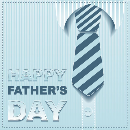 Striped tie on a background of the shirt. Template greeting card for Fathers Day. Illustration in vector format Stock Illustratie