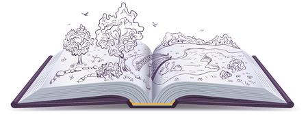 草原、川、橋、開いた本のページの木。概念図。ベクトル描画
