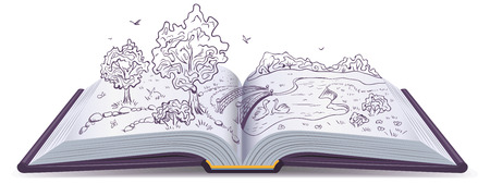 fantasy book: Meadow, River, bridge and trees in the pages of an open book. Conceptual illustration. Vector drawing