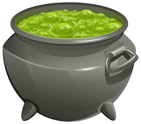 Pot met groene toverdrank. Geïsoleerde illustratie in vector-formaat