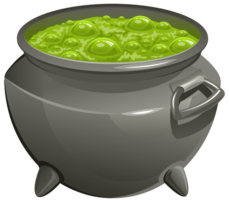 Pot with green magic potion. Isolated illustration in vector format Illustration