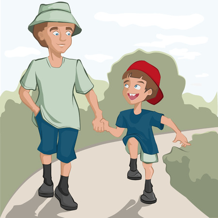 Father and son are on the road. Illustration in vector format