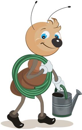 carries: Giardiniere Ant porta il tubo e annaffiatoio. Illustrazione in formato vettoriale