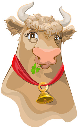 chewing: Brown head with bell cow chewing clover. Isolated illustration in vector format Illustration