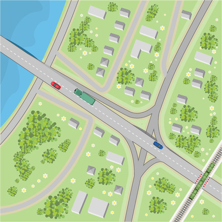 street view: The map with driving directions. Top view. Illustration in vector format