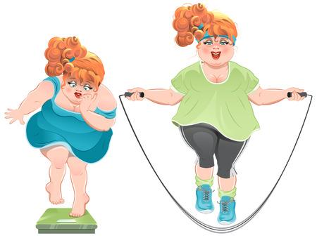 dann: Fette Frau mit Entsetzen schaut auf die Waage, und springt auf ein Springseil dann. Illustration im Vektorformat Illustration