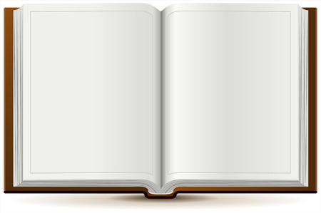 hardcover: An open book in hardcover. Isolated illustration in vector format