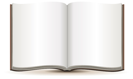Open magazine with blank pages in a brown cover. Isolated illustration in vector format