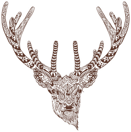 Antlered deer. Graphic drawing tattoo. Illustration in vector format Stock Illustratie
