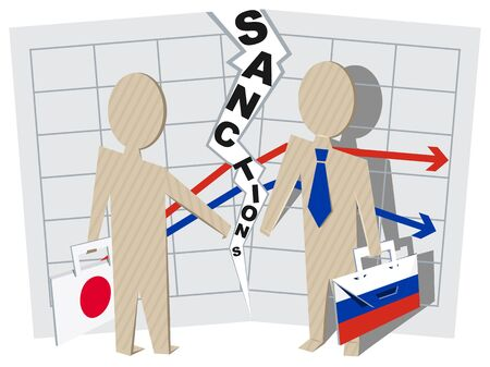against: Japan sanctions against Russia negative impact on business. Illustration in vector format