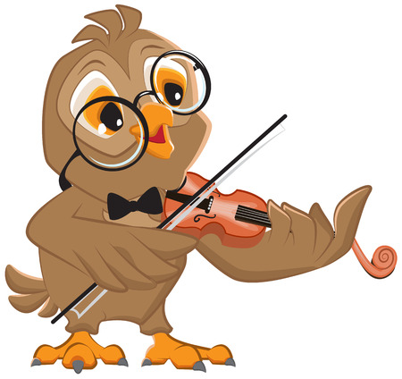 plays: Owl plays the violin. Isolated illustration in vector format
