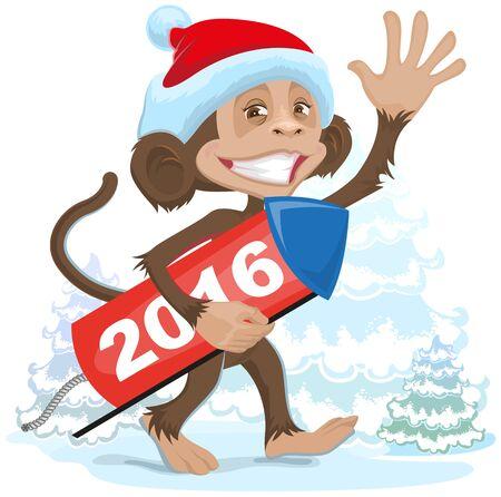 brings: Christmas monkey wearing a Santa Claus brings fireworks 2016. Illustration in vector format Illustration