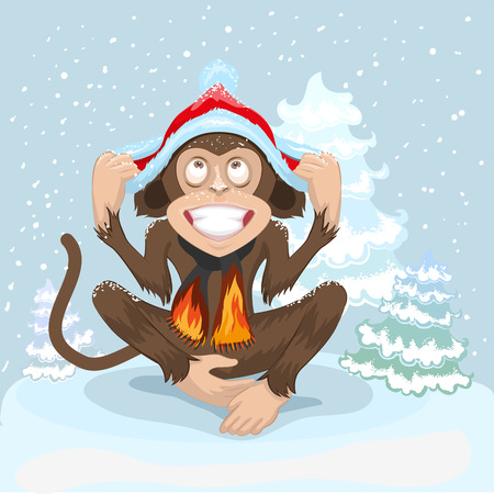 puts: Monkey is sitting on snow and puts cap of Santa Claus. Illustration in vector format