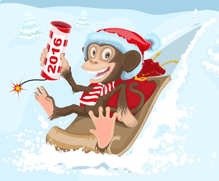 petard: Christmas monkey riding on a sled and keeps petard 2016. Illustration in vector format