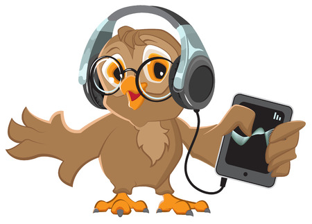 Owl with headphones listening to music. Isolated illustration in vector format