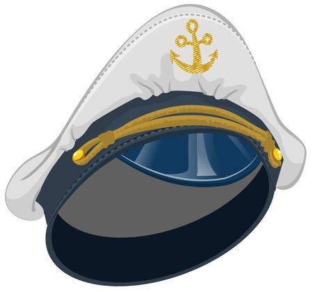 captain cap: White captain cap with anchor. Isolated illustration in vector format