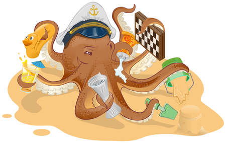 Summer vacation. Octopus has good time on beach. Illustration in vector format