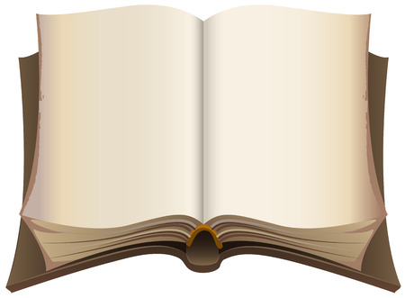 Brown old open book. Isolated illustration in vector format Illustration