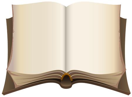 libros abiertos: Marrón libro abierto de edad. Ilustración aislada en formato vectorial Vectores