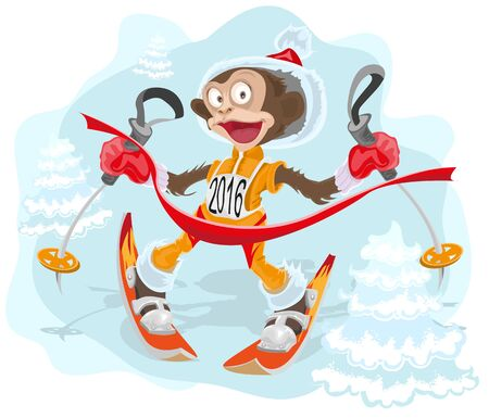 goes: Monkey symbol 2016 goes skiing. Illustration in vector format
