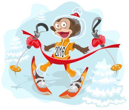 idzie: Monkey symbolem 2.016 idzie na nartach. Ilustracja w formacie wektorowym