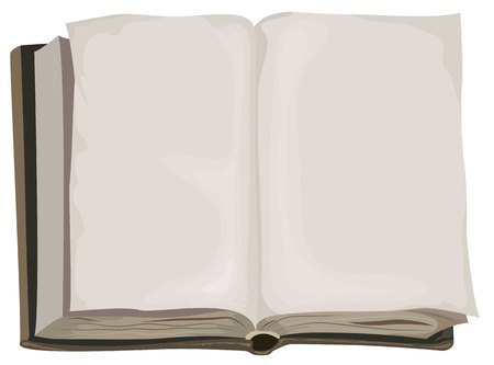Brown old one open book. Isolated illustration in vector format