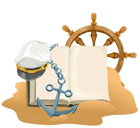 captain cap: Sea Adventure. Open book, anchor, captain cap and wheel lying on sand. Illustration in vector format