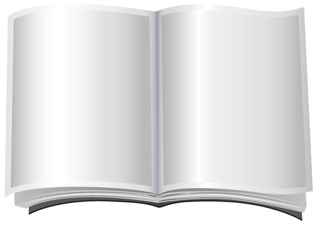 paperback: White open book in paperback. Isolated illustration in vector format