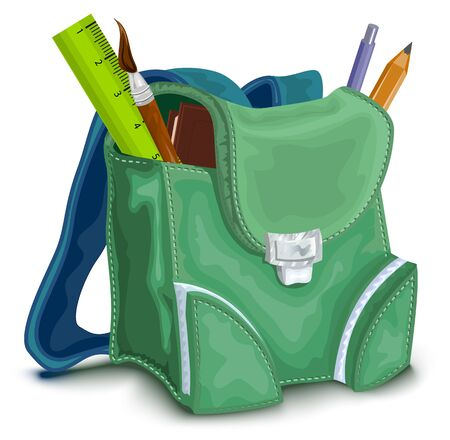 satchel: Green backpack with school supplies. Isolated illustration in vector format