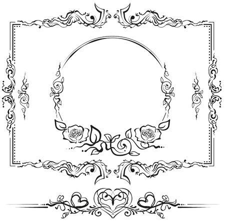黒と白の花柄。タイトルのカルトゥーシュ。ベクトル形式のイラスト