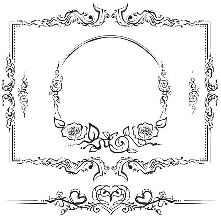 scroll: Black and white floral pattern. Cartouche for titles. Illustration in vector format