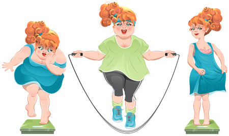 excess: Fat woman stares at the scales. She lost weight. Thin red-haired girl standing on the scales. Isolated illustration in vector format Illustration