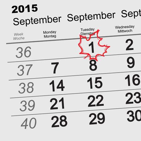 september 1: September 1 - back to school. Maple Leaf on the calendar