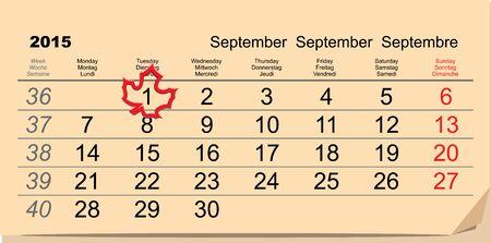 september 1: September 1 - back to school. Maple Leaf on calendar. Illustration in vector format Illustration
