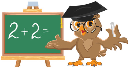 leads: Owl teacher leads math lesson. Isolated illustration Illustration