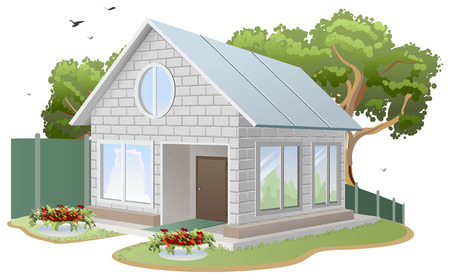 cottage fence: White brick house. Country cottage, tree, flower beds, fence. Illustration in vector format