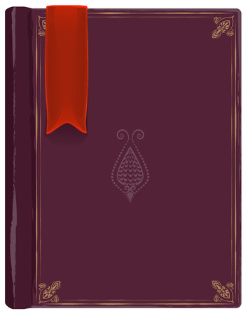Closed old book with a red bookmark. Illustration in vector format Ilustração