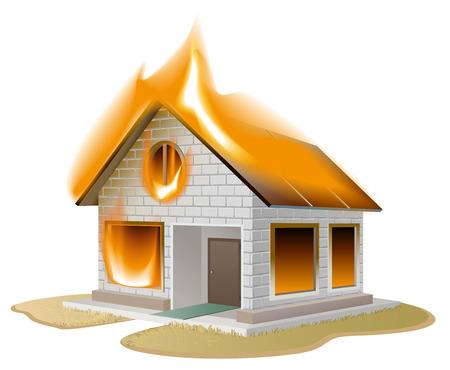 incendio casa: Casa de ladrillo de color blanco en el fuego. Cabaña del país en peligro. Ilustración aislada en formato vectorial