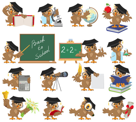 cartoon hat: Big set of teacher owl. Isolated illustration in vector format