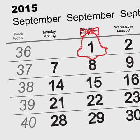 first day of school: September 1 - First day of school. Red bell with ribbon. Calendar illustration in vector format