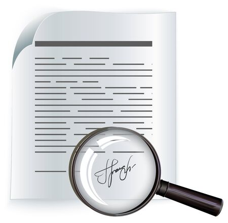 writing on glass: Paper agreement and magnifier. Contract. Illustration in vector format