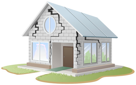 Crack in brick wall of house. Illustration in vector format