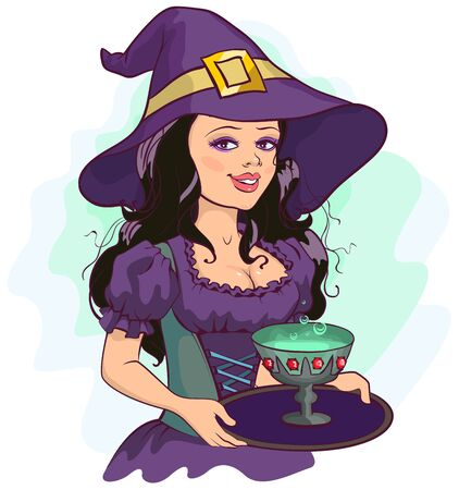 holds: Beautiful girl witch holds potion cup on a tray. Illustration in vector format