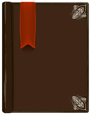 old diary: Closed brown book with bookmark. Illustration in vector format