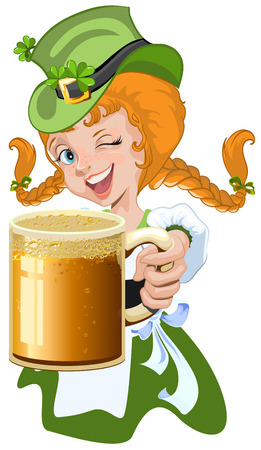 red haired girl: Red haired girl leprechaun holding a glass beer mug. Illustration in vector format