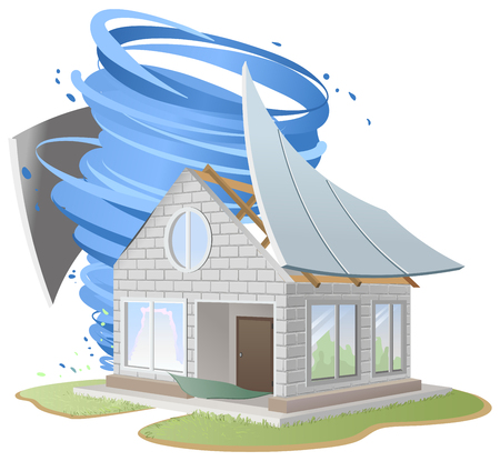 Hurricane destroyed roof of house. Illustration in vector format Vettoriali