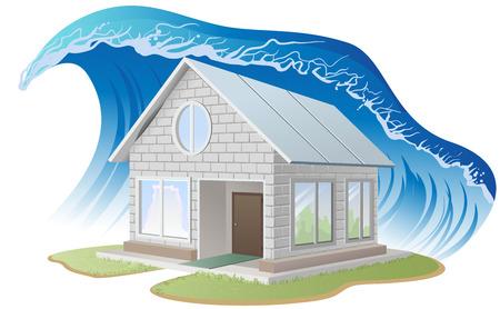 Brick house washes flood. Illustration in vector format Stock Illustratie