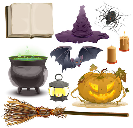 book isolated: Set Halloween objects accessories. Pumpkin ,lantern, hat, broom, cauldron, spider, bat and old book. Isolated illustration in vector format Illustration