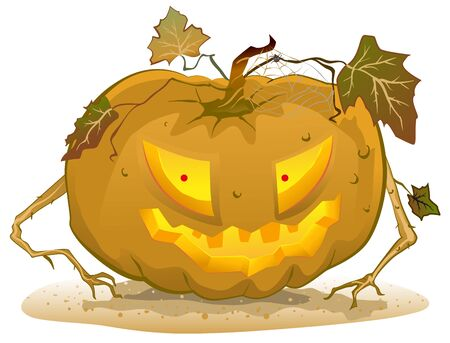 terrible: Terrible pumpkin lantern for Halloween. Holiday halloween accessories. Illustration in vector format