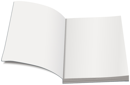 paperback: White paperback template. Open book paperback. Isolated illustration